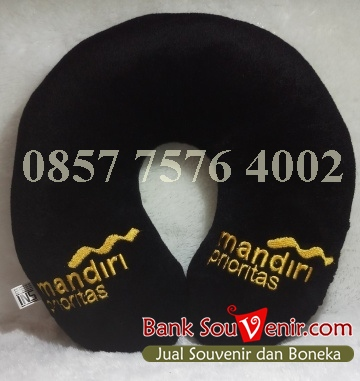 Bantal leher souvenir Bank Mandiri – Prioritas